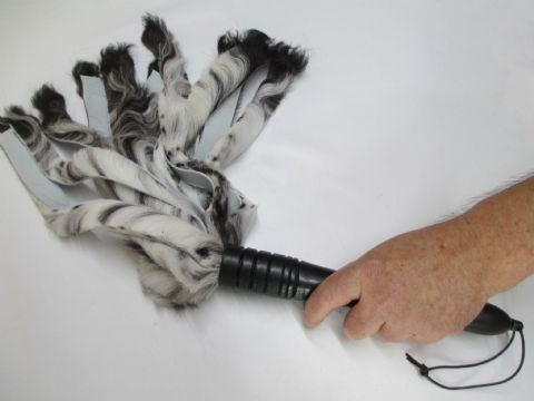 LIMITED EDITION - Black/White Sheepskin Falls,  Ebonised Oak Handle Flogger (Flog3)